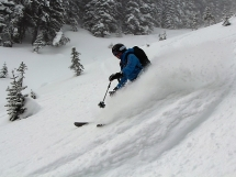 skiing at Hilda Hut