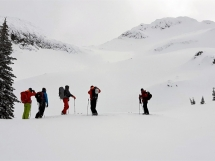 spring skiing at Hilda Hut