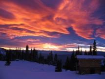 Sunset over Valkyr Lodge sauna