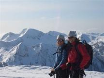 Happy skiers at Valkyr Lodge