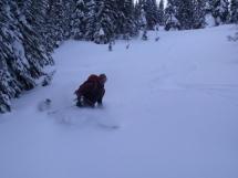 Fun backcountry skiing at Valkyr Lodge